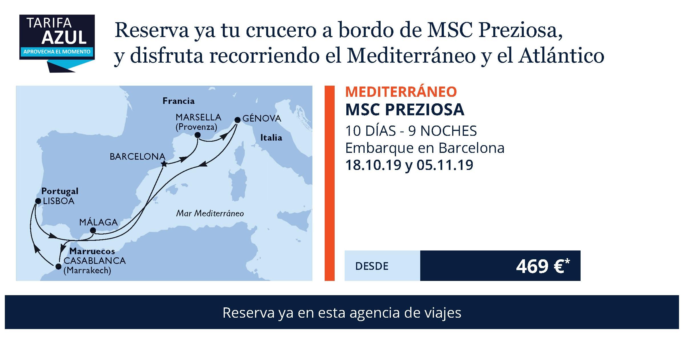 Viaja por el Mediterráneo en Crucero MSC 679€ Tasas Incluidas